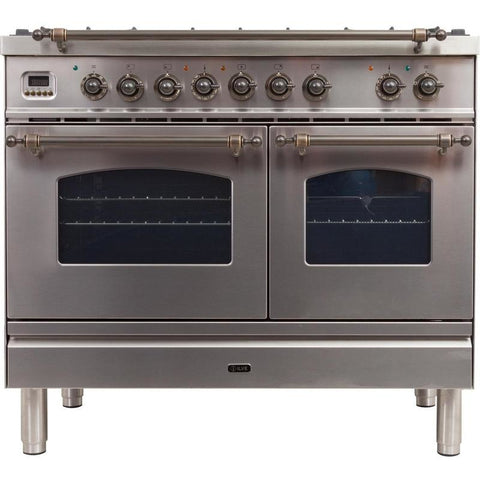"Image of ILVE 40"" Nostalgie Series Dual Fuel Natural Gas Range with 5 Sealed Brass Burners 3.55 cu. ft. Total Capacity True Convection Oven Griddle with Bronze Trim in Stainless Steel (UPDN100FDMPIY) - Shop For Kitchens"
