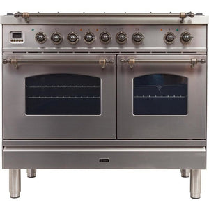 "ILVE 40"" Nostalgie Series Dual Fuel Natural Gas Range with 5 Sealed Brass Burners 3.55 cu. ft. Total Capacity True Convection Oven Griddle with Bronze Trim in Stainless Steel (UPDN100FDMPIY) - Shop For Kitchens"