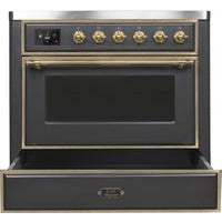 "Image of ILVE 36"" Majestic II Series Induction Range with 5 Elements 3.5 cu. ft. Oven Capacity TFT Oven Control Display Brass Trim in Matte Graphite (UMI09NS3MGG) - Shop For Kitchens"