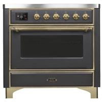 "ILVE 36"" Majestic II Series Induction Range with 5 Elements 3.5 cu. ft. Oven Capacity TFT Oven Control Display Brass Trim in Matte Graphite (UMI09NS3MGG) - Shop For Kitchens"