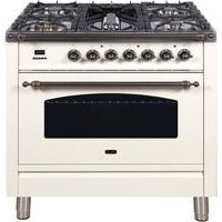 "Image of ILVE 36"" Nostalgie Series Dual Fuel Liquid Propane Range with 5 Sealed Brass Burners 3 cu. ft. Capacity True Convection Oven with Bronze Trim in Antique White (UPN90FDMPAYLP) - Shop For Kitchens"