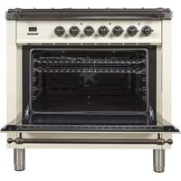 "ILVE 36"" Nostalgie Series Dual Fuel Natural Gas Range with 5 Sealed Brass Burners 3 cu. ft. Capacity True Convection Oven with Bronze Trim in Antique White (UPN90FDMPAY) - Shop For Kitchens"