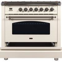 "Image of ILVE 36"" Nostalgie Series Dual Fuel Natural Gas Range with 5 Sealed Brass Burners 3 cu. ft. Capacity True Convection Oven with Bronze Trim in Antique White (UPN90FDMPAY) - Shop For Kitchens"