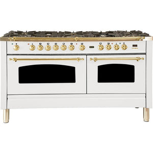 "ILVE 60"" Nostalgie Series Dual Fuel Natural Gas Range with 8 Sealed Burners 5.99 cu. ft. Total Capacity True Convection Oven Griddle with Brass Trim in White (UPN150FDMPB) - Shop For Kitchens"