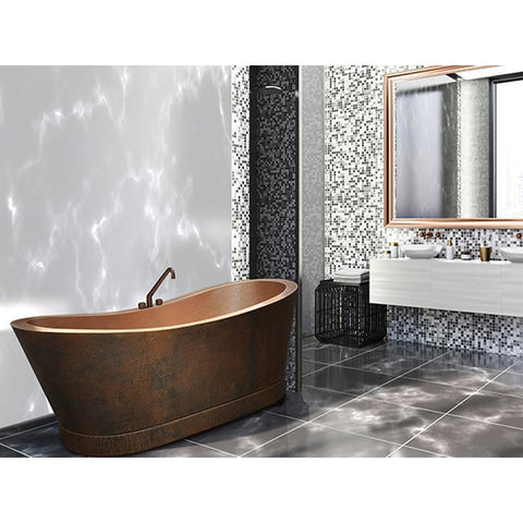 The Copper Design 58 in. Cradle Double Wall Copper Bath Tub in Dark Brown (CBT-CW-58-DB) - Shop For Kitchens