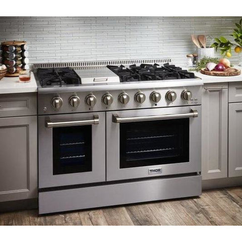 "Image of Pre-Converted Propane THOR Professional 48"" Dual Fuel Range in Stainless Steel (HRD4803ULP) - Shop For Kitchens"