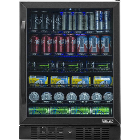 "NewAir 24"" Built-in 177 Can Black Stainless Steel Beverage Fridge (NBC177BS00) - Shop For Kitchens"