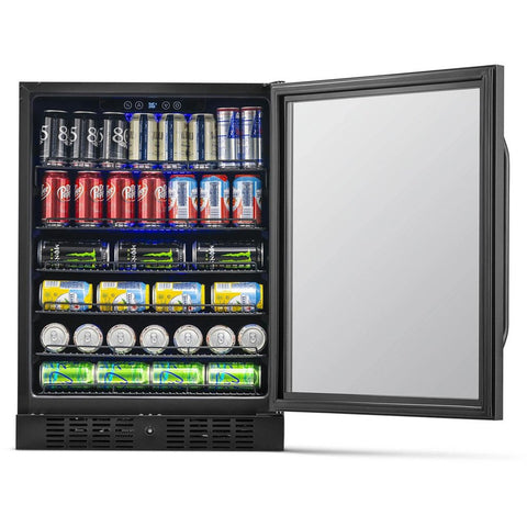 "Image of NewAir 24"" Built-in 177 Can Black Stainless Steel Beverage Fridge (NBC177BS00) - Shop For Kitchens"