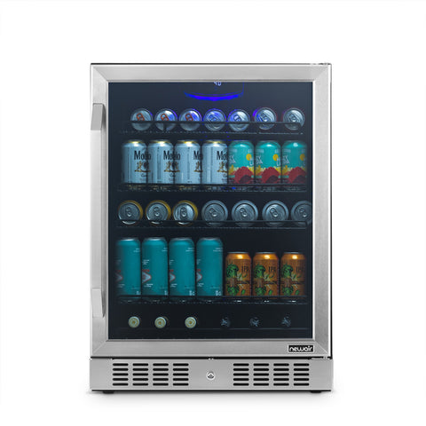 "NewAir 24"" Built-in 177 Can Stainless Steel Beverage Fridge (NBC177SS00) - Shop For Kitchens"