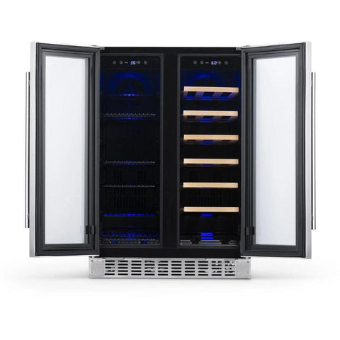 "NewAir 24"" Premium Built-in Dual Zone 18 Bottle and 58 Can French Door Wine and Beverage Fridge (NWB080SS00) - Shop For Kitchens"