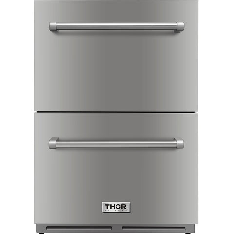 "THOR Kitchen 24"" Indoor/Outdoor 5.4 cu. ft. Undercounter Double Drawer Refrigerator in Stainless Steel (TRF2401U) - Shop For Kitchens"