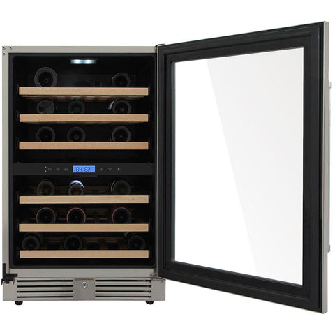 "THOR Kitchen 24"" Indoor/Outdoor 46-Bottle Independent Dual Zone Wine Cooler (TWC2401DO) - Shop For Kitchens"