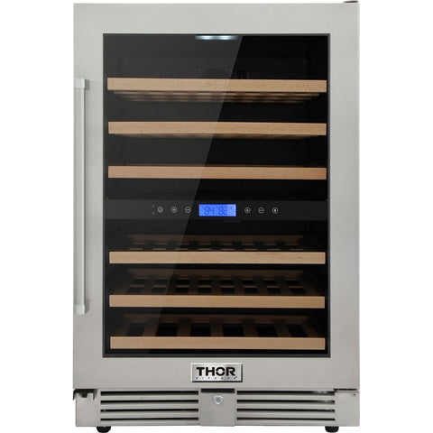 "Image of THOR Kitchen 24"" Indoor/Outdoor 46-Bottle Independent Dual Zone Wine Cooler (TWC2401DO) - Shop For Kitchens"