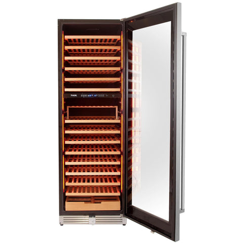 "THOR Kitchen 24"" 162-Bottle Dual Zone Freestanding Wine Cooler (TWC2403DI) - Shop For Kitchens"
