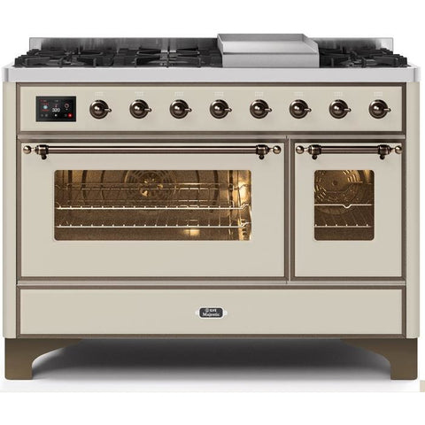 "Image of ILVE 48"" Majestic II Series Dual Fuel Range with 8 Burners and Griddle 5.02 cu. ft. Total Oven Capacity TFT Oven Control Display Bronze Trim in Antique White (UM12FDNS3AWBLP) - Shop For Kitchens"