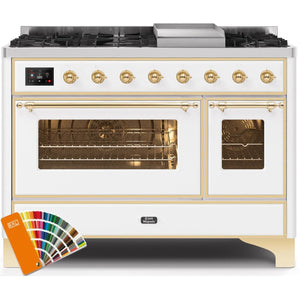 "ILVE 48"" Majestic II Dual Fuel Propane Gas Range in Custom RAL Color with Brass Trim (UM12FDNS3RALGLP) - Shop For Kitchens"