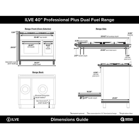 "ILVE 40"" Professional Plus Series Dual Fuel Liquid Propane Range with 2 Ovens 6 Sealed Burners with Chrome Trim in Stainless Steel (UPDW1006DMPILP) - Shop For Kitchens"