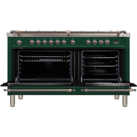 "Image of ILVE 60"" Nostalgie Series Dual Fuel Liquid Propane Range with 8 Sealed Burners 5.99 cu. ft. Total Capacity True Convection Oven Griddle with Bronze Trim in Emerald Green (UPN150FDMPVSYLP) - Shop For Kitchens"