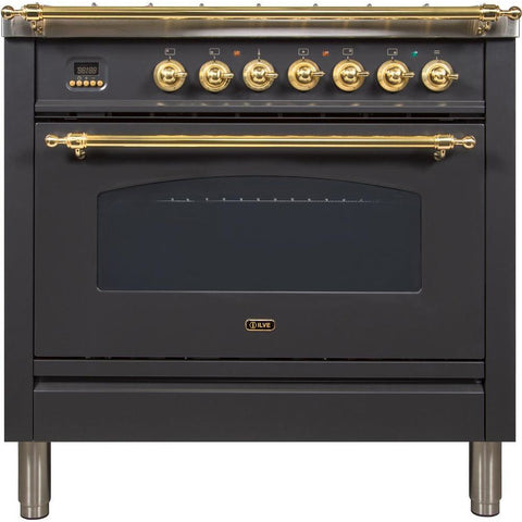 "Image of ILVE 36"" Nostalgie - Dual Fuel Range with 5 Sealed Brass Burners - 3 cu. ft. Oven - Brass Trim in Matte Graphite (UPN90FDMPM) - Shop For Kitchens"