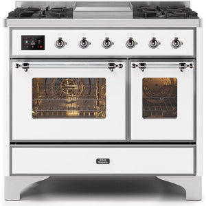 "ILVE 40"" Majestic II Series Dual Fuel Natural Gas Range with 6 Sealed Burners and Griddle 3.82 cu. ft. Total Oven Capacity TFT Oven Control Display Chrome Trim in White (UMD10FDNS3WHC) - Shop For Kitchens"