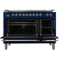 "ILVE 48"" Nostalgie Series Dual Fuel Liquid Propane Range with 7 Sealed Burners 5 cu. ft. Total Capacity True Convection Oven Griddle with Chrome Trim in Blue (UPN120FDMPBLXLP) - Shop For Kitchens"
