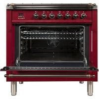 "Image of ILVE 36"" Nostalgie Series Dual Fuel Natural Gas Range with 5 Sealed Brass Burners 3 cu. ft. Capacity True Convection Oven with Bronze Trim in Burgundy (UPN90FDMPRBY) - Shop For Kitchens"