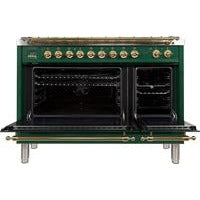 "Image of ILVE 48"" Nostalgie Series Dual Fuel Natural Gas Range with 7 Sealed Burners 5 cu. ft. Total Capacity True Convection Oven Griddle with Brass Trim in Emerald Green (UPN120FDMPVS) - Shop For Kitchens"