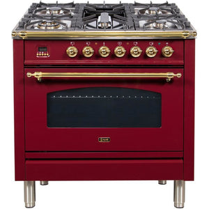 "ILVE 36"" Nostalgie Series Dual Fuel Natural Gas Range with 5 Sealed Brass Burners 3 cu. ft. Capacity True Convection Oven with Brass Trim in Burgundy (UPN90FDMPRB) - Shop For Kitchens"