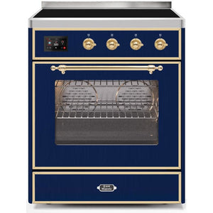 "ILVE 30"" Majestic II Induction Range with Brass Trim in Midnight Blue (UMI30NE3MBG) - Shop For Kitchens"