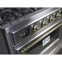 "Image of ILVE 48"" Majestic II Dual Fuel Range with 8 Burners and Brass Trim in Stainless Steel (UM12FDNS3SSG) - Shop For Kitchens"