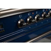 "ILVE 36"" Nostalgie Series Dual Fuel Natural Gas Range with 5 Sealed Brass Burners 3 cu. ft. Capacity True Convection Oven with Bronze Trim in Blue (UPN90FDMPBLY) - Shop For Kitchens"