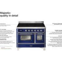 "Image of ILVE 30"" Majestic II Induction Range with Brass Trim in Midnight Blue (UMI30NE3MBG) - Shop For Kitchens"