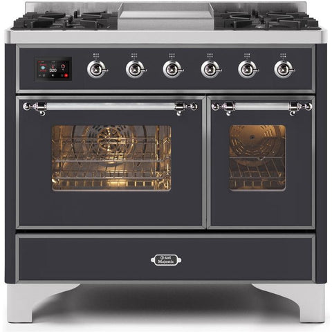 "Image of ILVE 40"" Majestic II Series Dual Fuel Liquid Propane Range with 6 Sealed Burners and Griddle 3.82 cu. ft. Total Oven Capacity TFT Oven Control Display Chrome Trim in Matte Graphite (UMD10FDNS3MGCLP) - Shop For Kitchens"