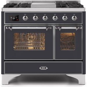 "ILVE 40"" Majestic II Series Dual Fuel Liquid Propane Range with 6 Sealed Burners and Griddle 3.82 cu. ft. Total Oven Capacity TFT Oven Control Display Chrome Trim in Matte Graphite (UMD10FDNS3MGCLP) - Shop For Kitchens"