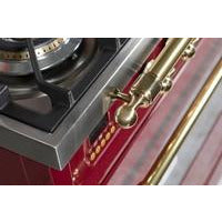 "ILVE 36"" Nostalgie Series Dual Fuel Liquid Propane Range with 5 Sealed Brass Burners 3 cu. ft. Capacity True Convection Oven with Brass Trim in Burgundy (UPN90FDMPRBLP) - Shop For Kitchens"