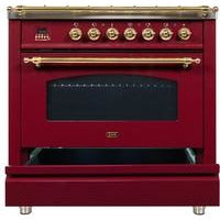 "Image of ILVE 36"" Nostalgie Series Dual Fuel Liquid Propane Range with 5 Sealed Brass Burners 3 cu. ft. Capacity True Convection Oven with Brass Trim in Burgundy (UPN90FDMPRBLP) - Shop For Kitchens"
