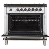 "ILVE 36"" Nostalgie Series Dual Fuel Liquid Propane Range with Bronze Trim in White (UPN90FDMPBYLP) - Shop For Kitchens"