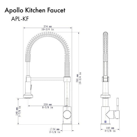Image of ZLINE Apollo Kitchen Faucet in Chrome (APL-KF-CH) - Shop For Kitchens