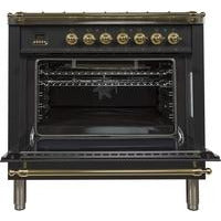 "ILVE 36"" Nostalgie Series Dual Fuel Natural Gas Range with 5 Sealed Brass Burners 3 cu. ft. Capacity True Convection Oven with Brass Trim in Glossy Black (UPN90FDMPN) - Shop For Kitchens"