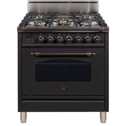"Image of ILVE 30"" Nostalgie Series Freestanding Gas Range with 5 Burners 3 cu. ft. Oven Capacity Digital Clock and Timer Full Width Warming Drawer 2 Oven Racks and Oiled Bronze Trim: Matte Graphite (UPN76DVGGMYLP) - Shop For Kitchens"