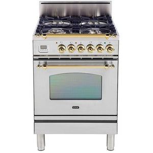 "ILVE 24"" Nostalgie Series Gas Range with Warming Drawer and Brass Trim in Stainless Steel (UPN60DVGGILP) - Shop For Kitchens"