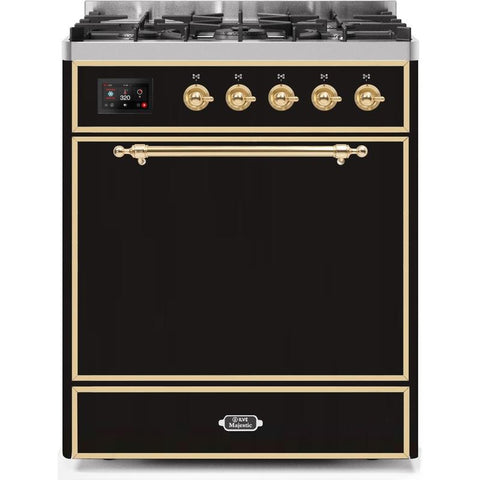 "Image of ILVE 30"" Majestic II Series Dual Fuel Natural Gas Range with 5 Burners 2.3 cu. ft. Oven Capacity TFT Oven Control Display Brass Trim in Glossy Black (UM30DQNE3BKG) - Shop For Kitchens"