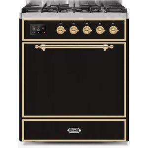 "ILVE 30"" Majestic II Series Dual Fuel Natural Gas Range with 5 Burners 2.3 cu. ft. Oven Capacity TFT Oven Control Display Brass Trim in Glossy Black (UM30DQNE3BKG) - Shop For Kitchens"