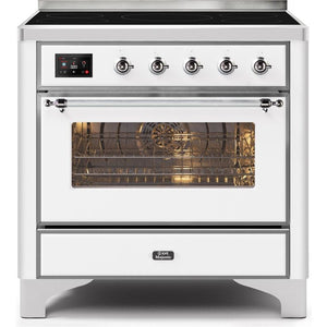 "ILVE 36"" Majestic II Series Induction Range with 5 Elements 3.5 cu. ft. Oven Capacity TFT Oven Control Display Chrome Trim in White (UMI09NS3WHC) - Shop For Kitchens"