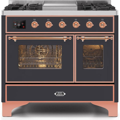 "Image of ILVE 40"" Majestic II Series Dual Fuel Natural Gas Range with 6 Sealed Burners and Griddle 3.82 cu. ft. Total Oven Capacity TFT Oven Control Display Copper Trim in Matte Graphite (UMD10FDNS3MGP) - Shop For Kitchens"