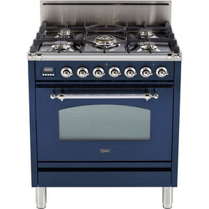 "ILVE 30"" Nostalgie Series Freestanding Gas Range with 5 Burners 3 cu. ft. Oven Capacity Digital Clock and Timer Full Width Warming Drawer 2 Oven Racks and Chrome Trim: Midnight Blue (UPN76DVGGBLX) - Shop For Kitchens"