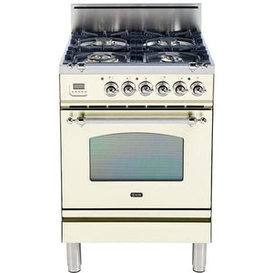 "ILVE 24"" Nostalgie Series Gas Range with Chrome Trim in Antique White (UPN60DVGGAX) - Shop For Kitchens"
