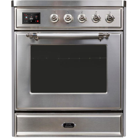 "Image of ILVE 30"" Majestic II Induction Range with Chrome Trim in Stainless Steel (UMI30NE3SSC) - Shop For Kitchens"