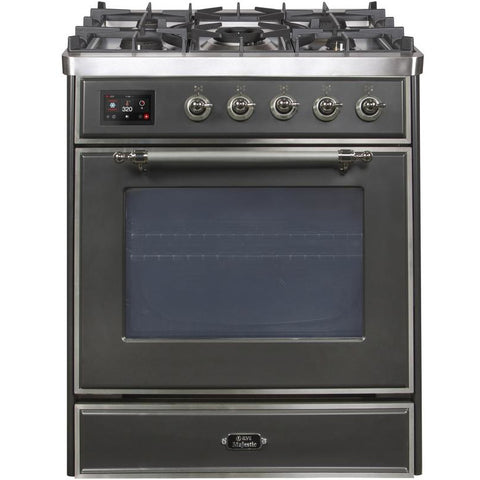 "Image of ILVE 30"" Majestic II Dual Fuel Range with Chrome Trim in Matte Graphite (UM30DNE3MGC) - Shop For Kitchens"