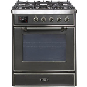 "ILVE 30"" Majestic II Dual Fuel Range with Chrome Trim in Matte Graphite (UM30DNE3MGC) - Shop For Kitchens"